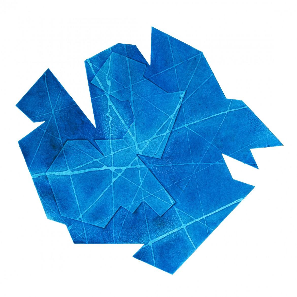 Sinclair Ashman: 'Geometry II Blue'. Collagraph print.