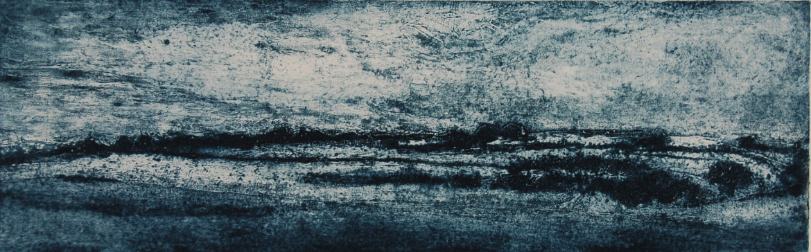 Late snowfall, collagraph, 64 x 20 cms