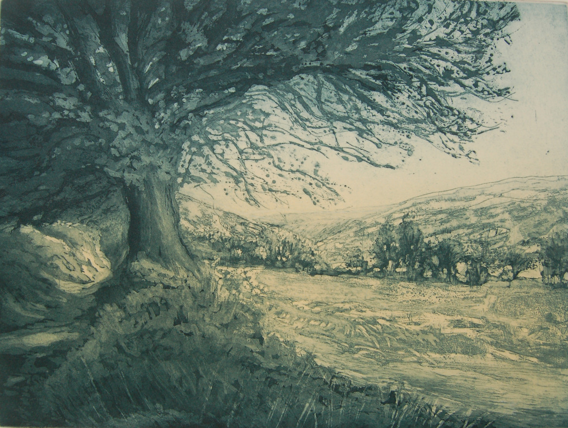 Walking to Withypool, etching, 32 x 43 cms