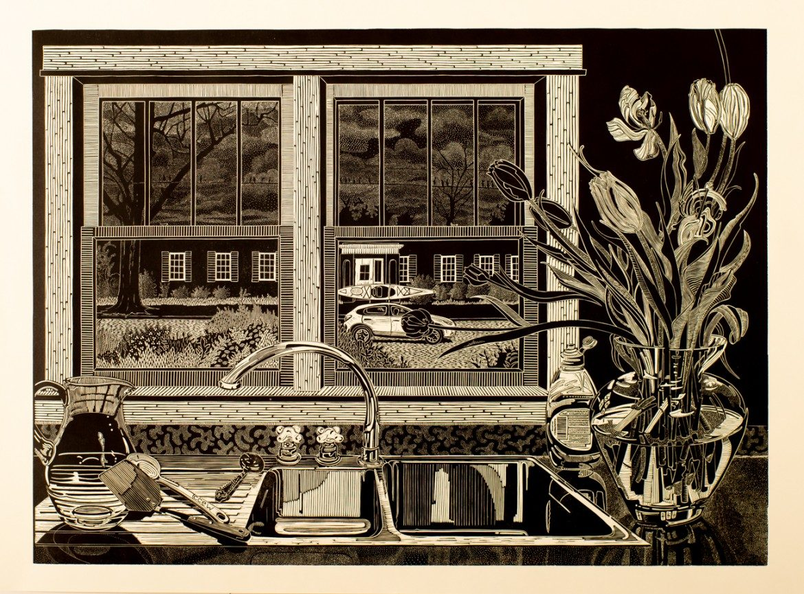 Still-life kitchen sink and window, car outside window with kayak on top. Flowers in vase to right of sink. Very fine detail.