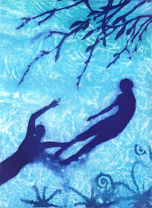 silhouetted figures swimming within the patterns of the water shadows, plants and sea creatures around them