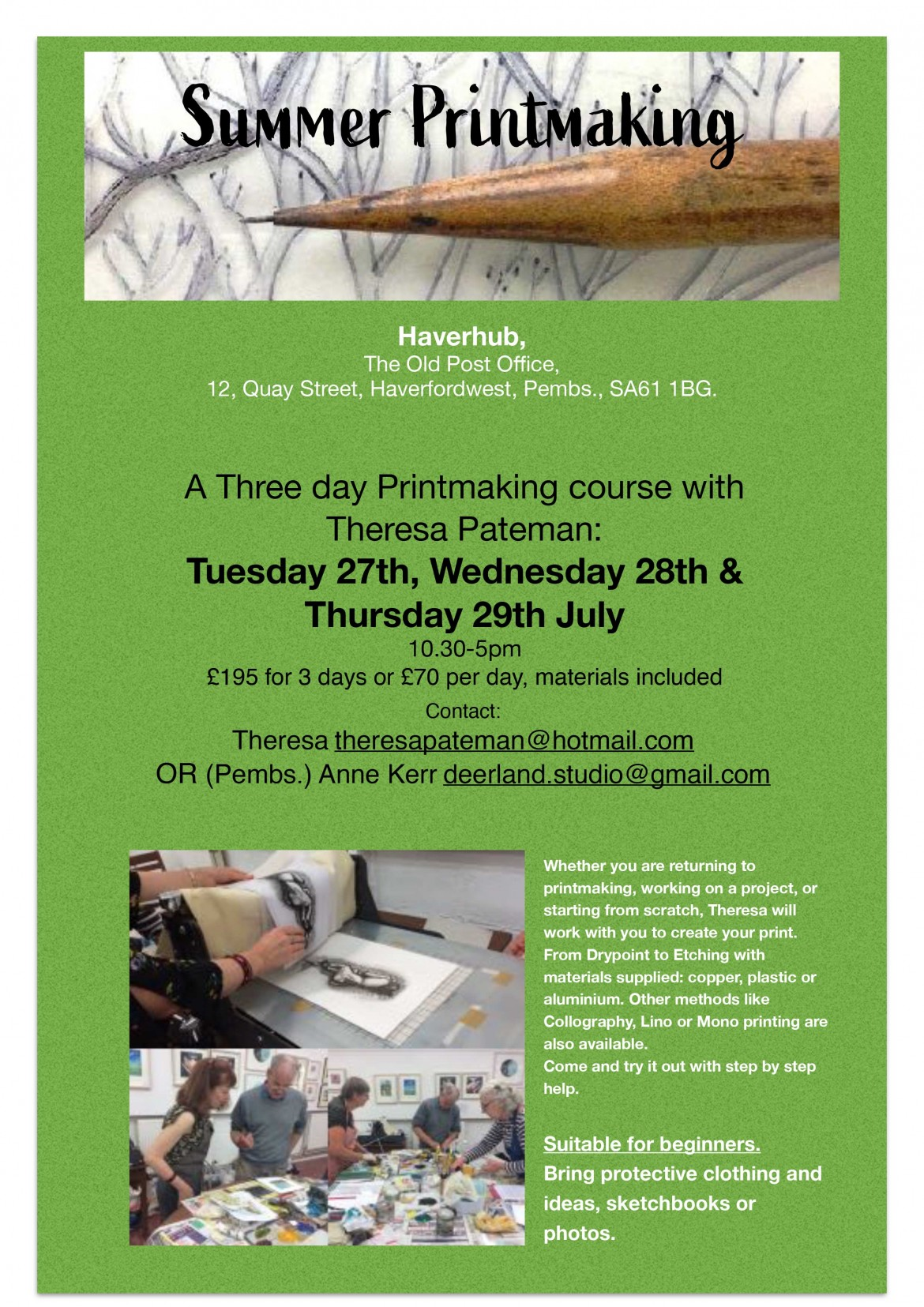 printmaking course in pembrokeshire