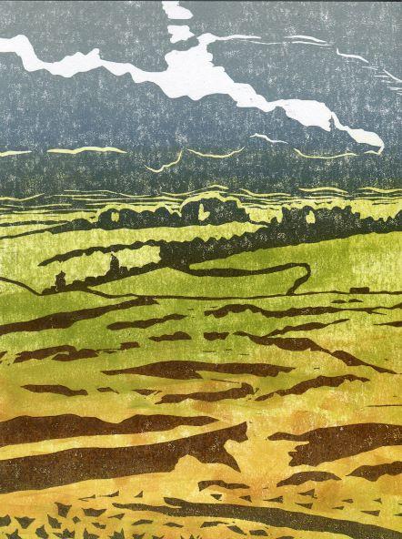 Carolyn Murphy linocut 'Above Ullswater' of a Cumbrian landscape