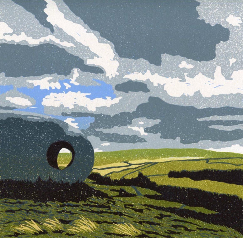 Carolyn Murphy linocut of 'Atom' structure in the Lancashire landscape