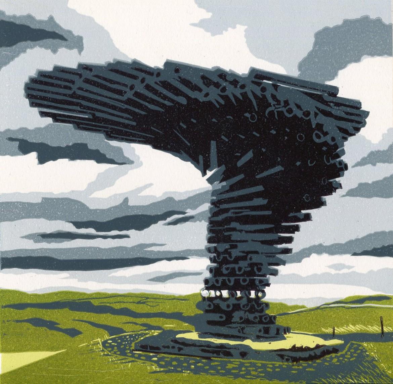 Carolyn Murphy linocut 'Singing Ringing Tree' in the Lancashire landscape